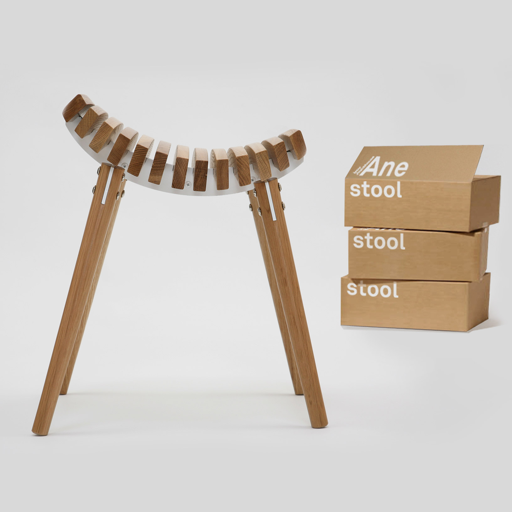 Ane stool with white frame flat packed